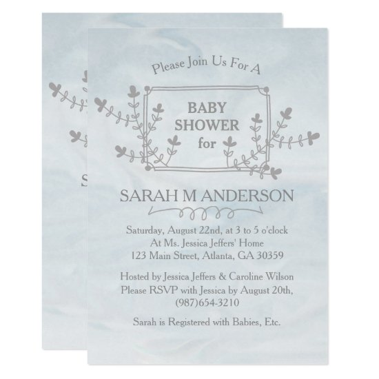 Sky Blue Nature Floral Frame Baby Shower Card