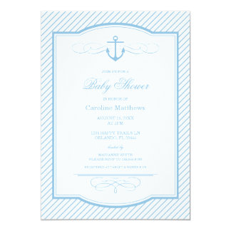 """Sky Blue Nautical Anchor and Stripes Baby Shower 5"""" X 7"""" Invitation Card"""