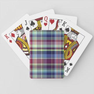 Sky Blue Navy Burgundy Pistach Preppy Madras Plaid Playing Cards