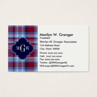 Sky Blue Navy Burgundy Preppy Madras Monogram Business Card
