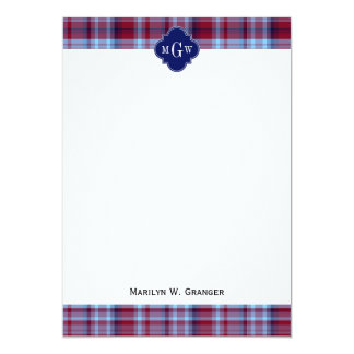 Sky Blue Navy Burgundy Preppy Madras Monogram Card