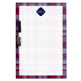 Sky Blue Navy Burgundy Preppy Madras Monogram Dry-Erase Board