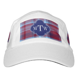 Sky Blue Navy Burgundy Preppy Madras Monogram Headsweats Hat