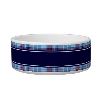 Sky Blue Navy Burgundy Preppy Madras N Monogram Bowl