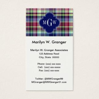 Sky Blue Navy Burgundy Wht Preppy Madras Monogram Business Card