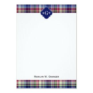 Sky Blue Navy Burgundy Wht Preppy Madras Monogram Card