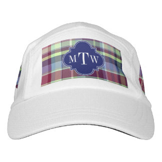 Sky Blue Navy Burgundy Wht Preppy Madras Monogram Headsweats Hat