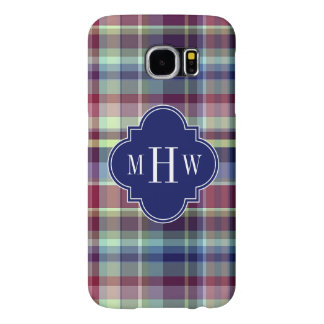 Sky Blue Navy Burgundy Wht Preppy Madras Monogram Samsung Galaxy S6 Case