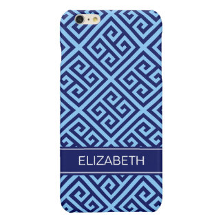 Sky Blue Navy Med Greek Key Diag T Name Monogram Glossy iPhone 6 Plus Case
