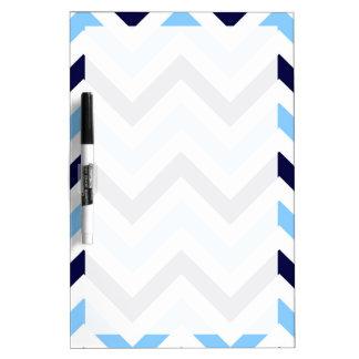 Sky Blue, Navy, White Large Chevron ZigZag Pattern Dry Erase Whiteboards