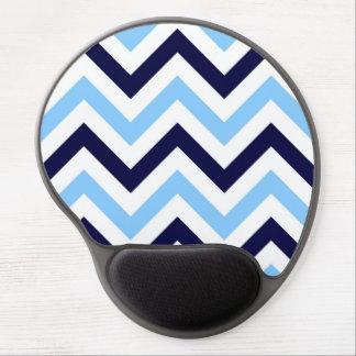 Sky Blue, Navy, White Large Chevron ZigZag Pattern Gel Mouse Pad