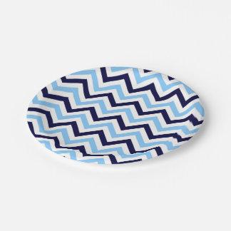 Sky Blue, Navy, White Large Chevron ZigZag Pattern Paper Plate