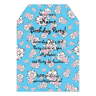 Sky blue nerd cow pattern 5x7 paper invitation card