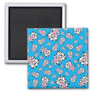 Sky blue nerd cow pattern fridge magnet