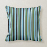 [ Thumbnail: Sky Blue, Olive Green, Slate Gray, Cyan & Black Throw Pillow ]