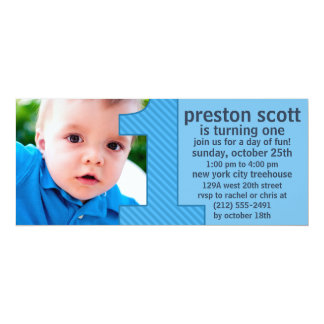 """Sky Blue One Is Fun Photo First Birthday Party 4"""" X 9.25"""" Invitation Card"""