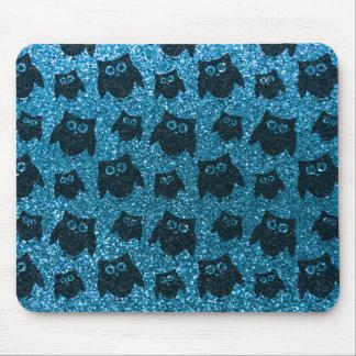 Sky blue owl glitter pattern mousepad