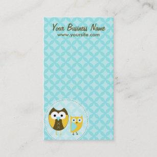 Retro owl business cards zazzle sky blue owls business cards colourmoves
