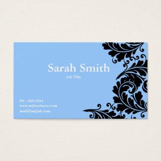 Sky blue paisley damask business card