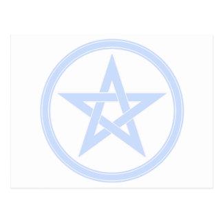 sky blue pentacle postcard