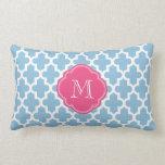 Sky Blue & Pink Modern Moroccan Pattern Monogram Pillows