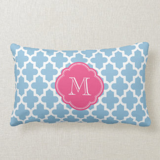 Sky Blue & Pink Modern Moroccan Pattern Monogram Pillow