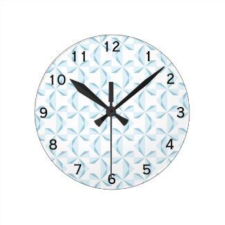Sky Blue Pinwheels Round Clock