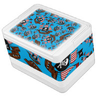 Sky blue pirate ship pattern igloo ice chest