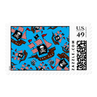 Sky blue pirate ship pattern stamps