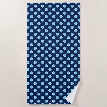 Beach Themed Sky Blue Polka Dots on Navy Beach Towel