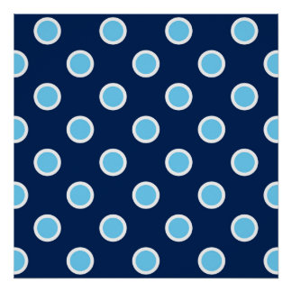 Sky Blue Polka Dots on Navy Square Poster