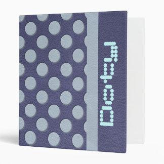 Sky Blue Polka Dots on Slate Blue Leather Print Binder