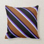 [ Thumbnail: Sky Blue, Purple, Black, Brown & White Colored Throw Pillow ]