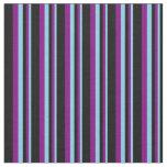 [ Thumbnail: Sky Blue, Purple & Black Lined/Striped Pattern Fabric ]