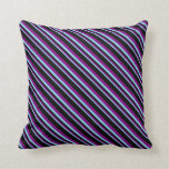 [ Thumbnail: Sky Blue, Purple & Black Lined/Striped Pattern Throw Pillow ]