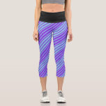 [ Thumbnail: Sky Blue & Purple Lines Pattern Leggings ]