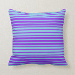 [ Thumbnail: Sky Blue & Purple Lines Pattern Throw Pillow ]
