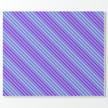 [ Thumbnail: Sky Blue & Purple Lines Pattern Wrapping Paper ]