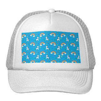Sky blue rainbow unicorn hearts stars pattern trucker hat