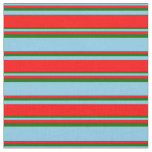 [ Thumbnail: Sky Blue, Red, and Dark Green Colored Stripes Fabric ]
