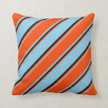 [ Thumbnail: Sky Blue, Red & Black Colored Pattern Throw Pillow ]