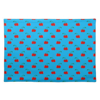 Sky blue red cherry pattern cloth place mat