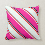 [ Thumbnail: Sky Blue, Red, Mint Cream, Deep Pink, and Black Throw Pillow ]