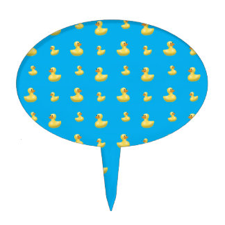 Sky blue rubber duck pattern cake toppers