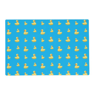 Sky blue rubber duck pattern laminated placemat