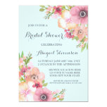 Sky Blue Rustic Pink Flowers Bridal Shower Card