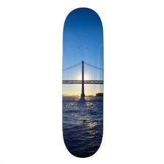 Sky Blue San Francisco Bay Bridge Sunrise Skateboard