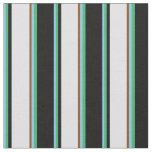 [ Thumbnail: Sky Blue, Sea Green, Black, Lavender & Brown Fabric ]