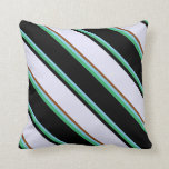 [ Thumbnail: Sky Blue, Sea Green, Black, Lavender & Brown Throw Pillow ]
