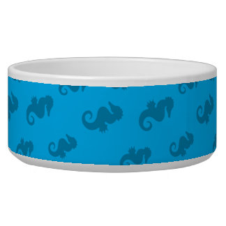 Sky blue seahorses dog bowls